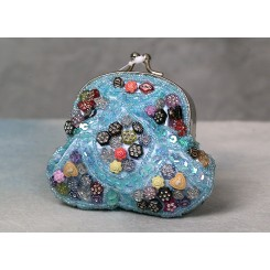 Lille pung besat med perler -turkis.