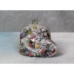 Lille pung besat med perler -grå