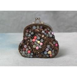 Lille pung besat med perler brun