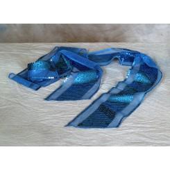 Tørklæde m/palietter tyrkis