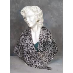 Tørklæde silke sort og grå