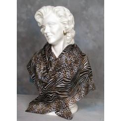 Tørklæde silke brun og sort