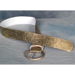 Bælte med flot præget mønster guld