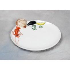 Rød skaldyr tallerken