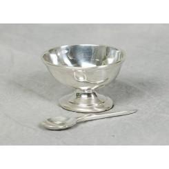 Sølvplet saltkar m/ske