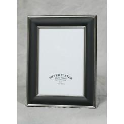 Sølvplet/sort fotoramme 13x18 cm