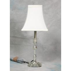 Lampe sølv 8 kant fod 50 cm creme skærm