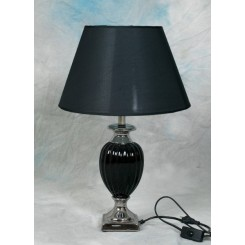 Lampe sort/sølv 54/73 cm m/sort skærm