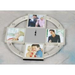 Ur med 4 stk billederammer 9x9 cm