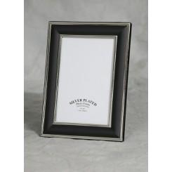 Sølvplet/sort fotoramme 10x15 cm fra Rønhoff
