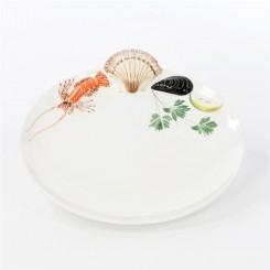 Fiske/skaldyr tallerken i fajance