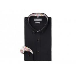 Sort poplin skjorte med kontrast