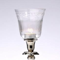 Topglas med slibning  H. 10 cm.